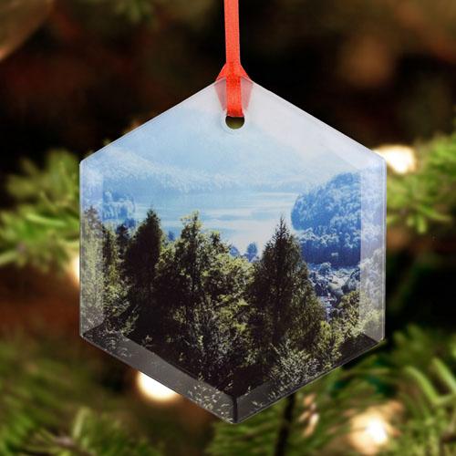 Personalized Photo Glass Ornament Hexagon 3