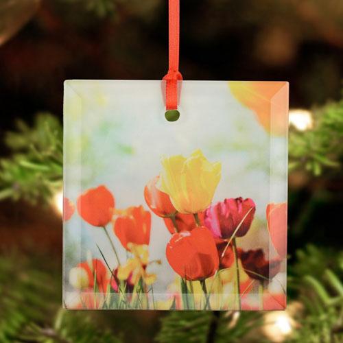 Personalized Photo Glass Ornament Square 3
