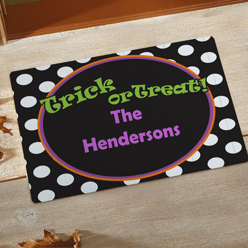 Polka Dots Halloween Personalized Doormat