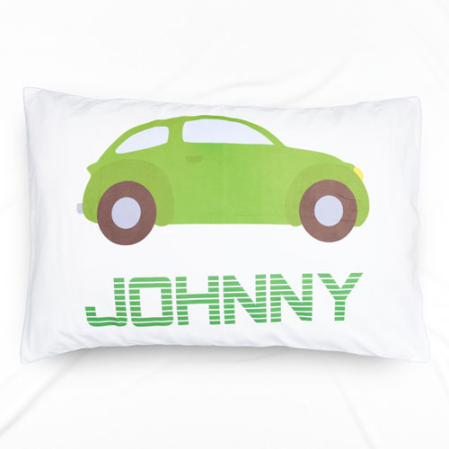 Green Car Personalized Name Pillowcase