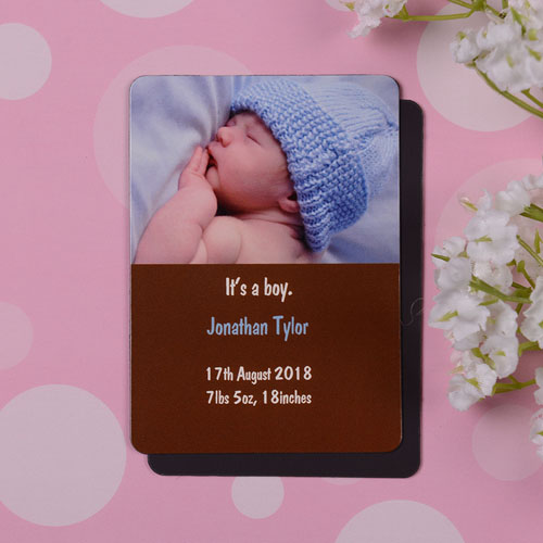 Personalized Baby Boy Coco Birth Announcement Photo Magnet