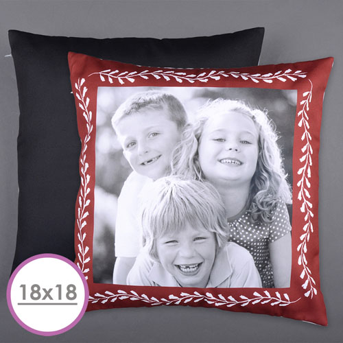 Red Frame Personalized Photo Large Cushion 18