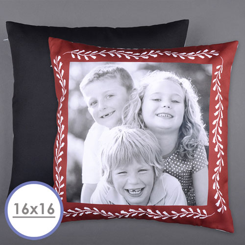 Red Frame Personalized Photo Pillow Cushion Cover 16
