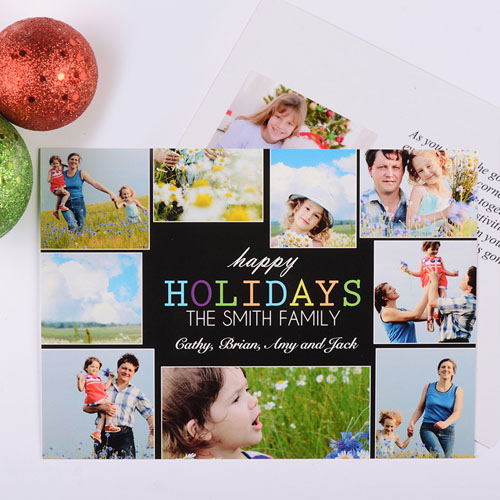 Cheerful Holiday Personalized Photo Card