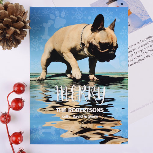 Paw Print Personalized Photo Christmas Card
