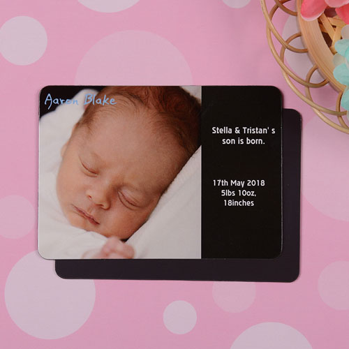 Personalized I Am A Boy Black Birth Announcement Photo Magnet