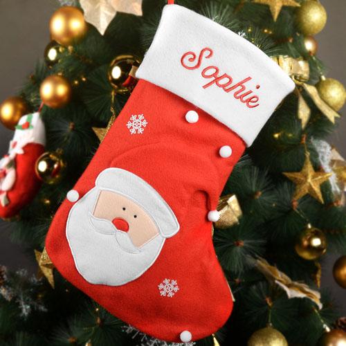 Embroidered Name Santa Christmas Stocking