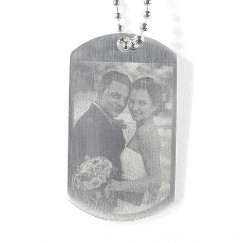 Engrave Wedding Photo Dog Tag Pendant