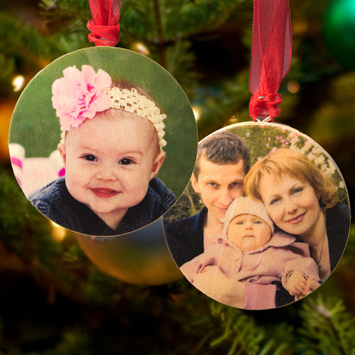 Personalized Wooden Photo Round Ornament