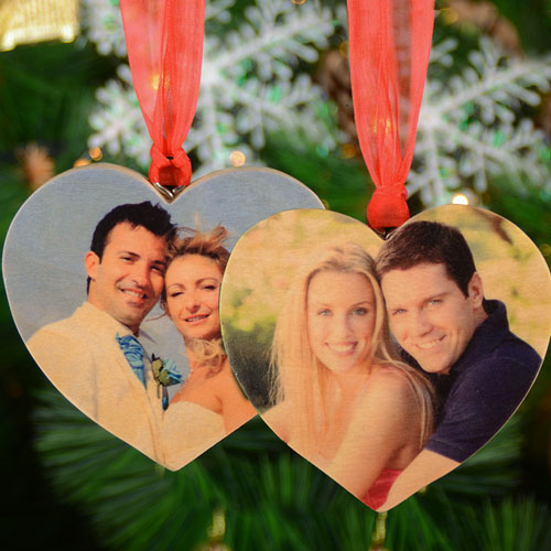 Personalized Wooden Photo Heart Ornament