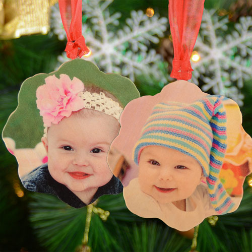 Personalized Wooden Photo Snowflake Ornament