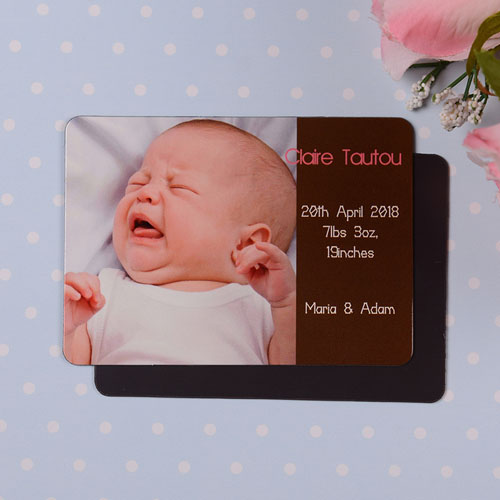 Personalized I Am A Girl Coco Birth Announcement Photo Magnet