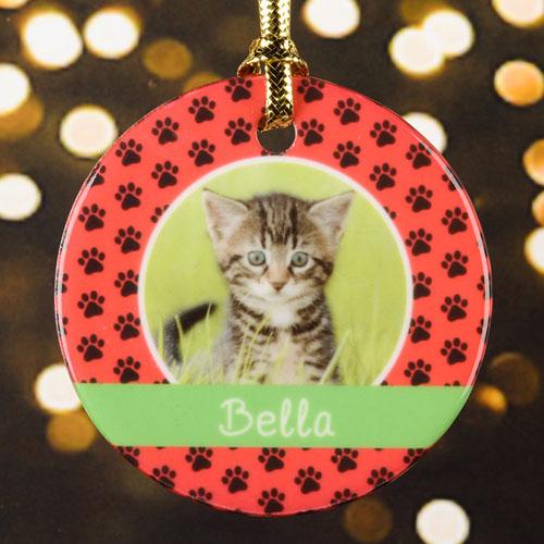 Cat Pet Personalized Photo Porcelain Ornament, Red