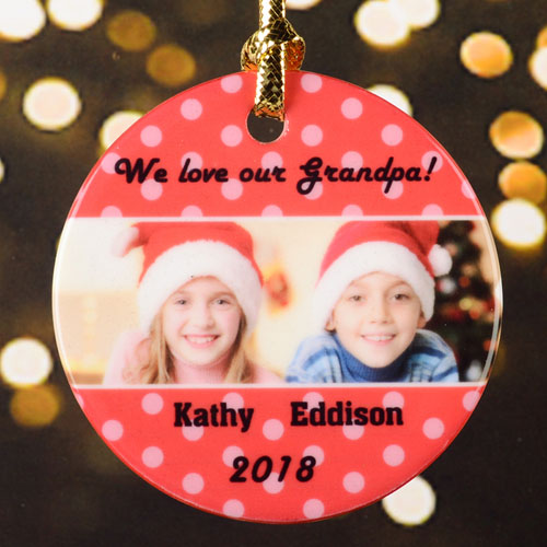 Red Personalized Photo Christmas Porcelain Ornament