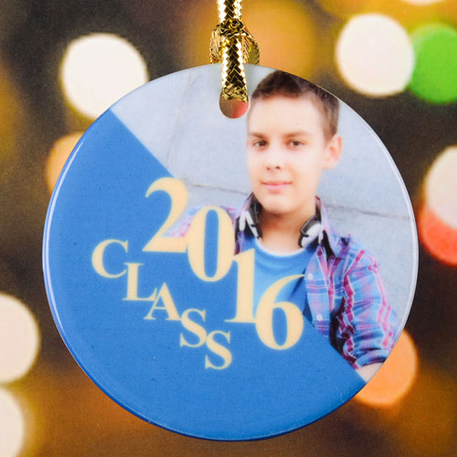 Graduation Personalized Photo Porcelain Ornament, Gold
