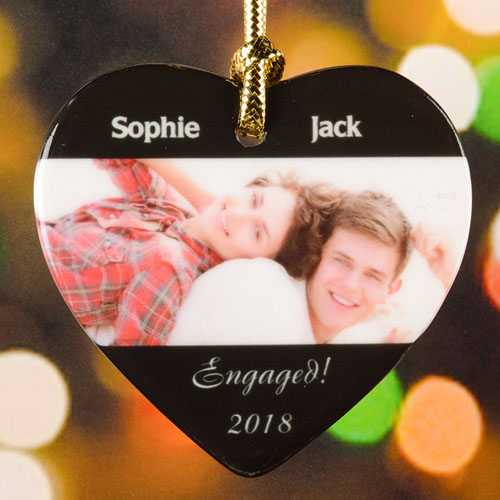 Engaged Christmas Personalized Photo Porcelain Ornament