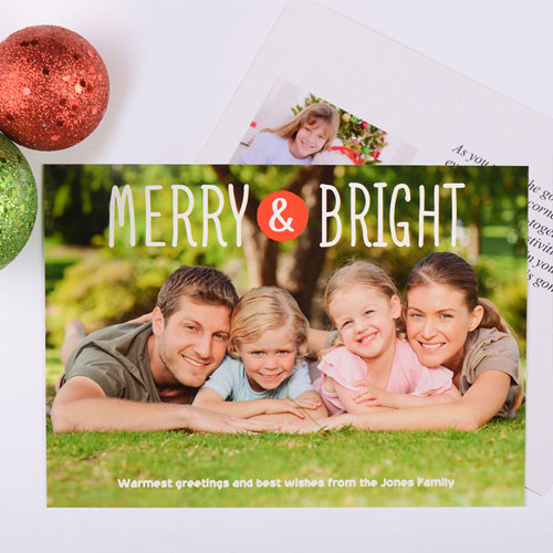 Merry & Bright Personalized Christmas Photo Card