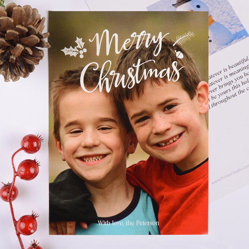 Merry Script Personalized Christmas Photo Card