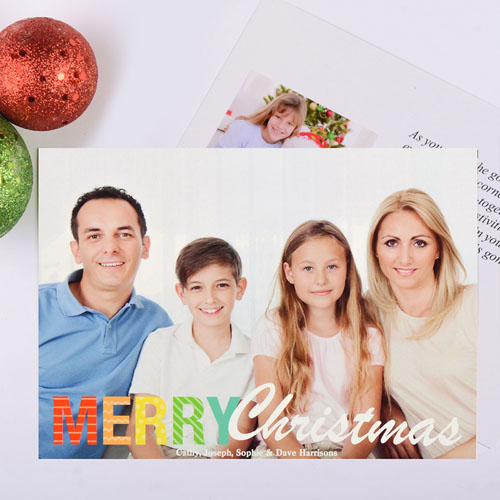 Bright Pattern Personalized Christmas Photo Card