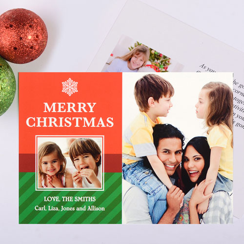 Snowflake Perfection Personalized Christmas Photo Card