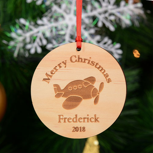 Airplane Personalized Engraved Wooden Ornament