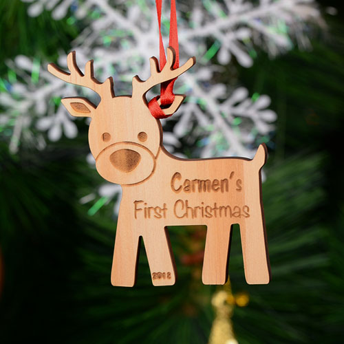 Reindeer Personalized Engraved Wooden Ornament