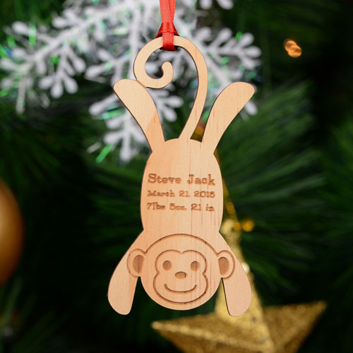 Monkey Personalized Engraved Wooden Ornament