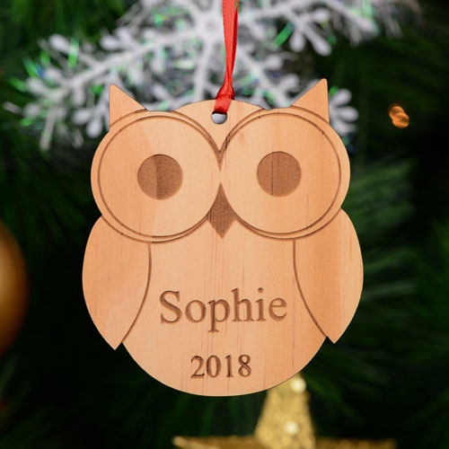 Cute Owl Personalized Engraved Wooden Ornament