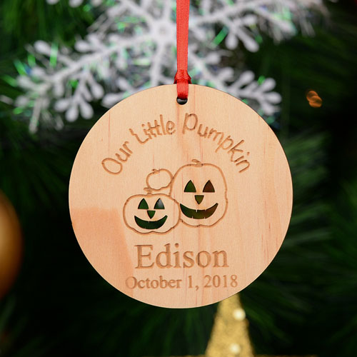 Our Little Pumpkin Personalized Engraved Wooden Ornament
