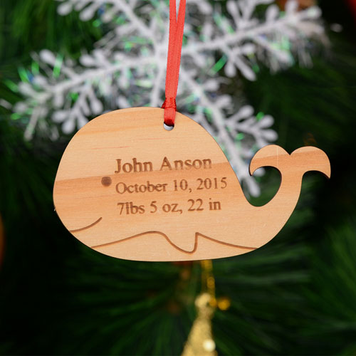 Whale Personalized Engraved Wooded Ornament