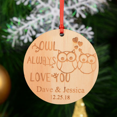 Owl Personalized Engraved Wooden Ornament