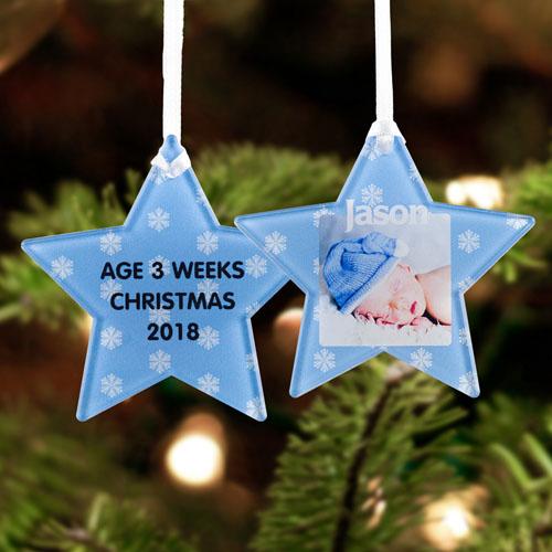 Snowflake Personalized Photo Acrylic Star Ornament