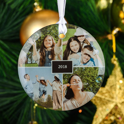 Personalized Four Collage Photo Round Glass Ornament