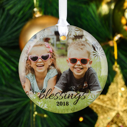 Blessing Personalized Photo Round Glass Ornament