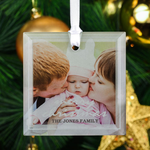 Merry Christmas Personalized Photo Square Glass Ornament