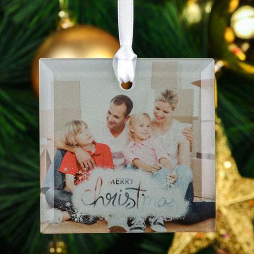 Snowflake Christmas Personalized Photo Square Glass Ornament