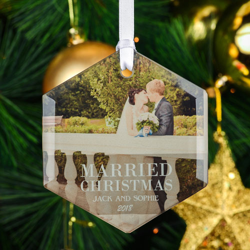 Married Christmas Personalized Photo Hexagon Glass Ornament