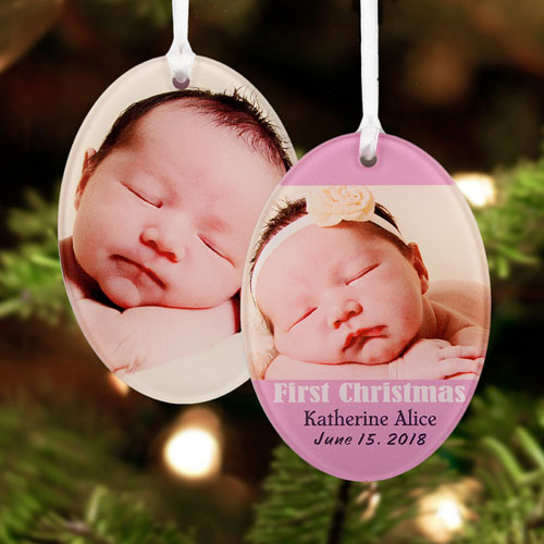 Girl First Christmas Personalized Photo Acrylic Oval Ornament