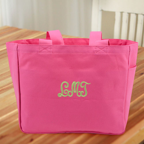 Personalized Embroidered Cotton Tote Bag, Hot Pink