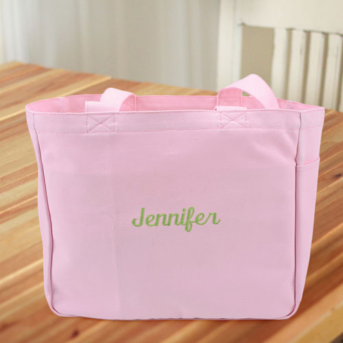 Personalized Embroidered Cotton Tote Bag, Pink