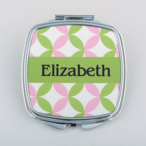 Pink Green Preppy Personalized Square Compact Mirror