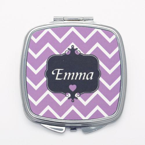 Purple Chevron Personalized Square Compact Mirror