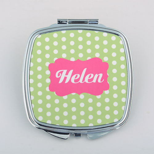 Green Polka Dot Personalized Square Compact Mirror