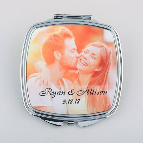 Wedding Date Personalized Square Compact Mirror