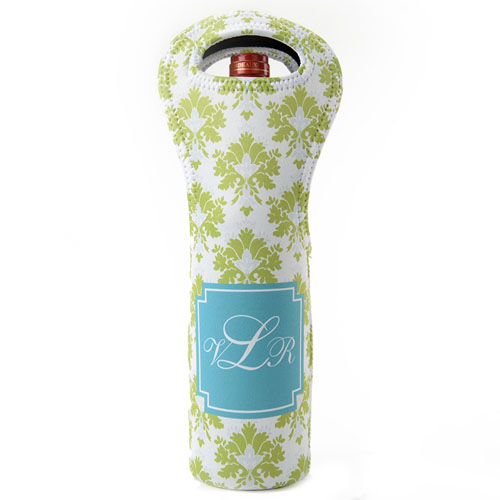 Peacock Lime Pattern Personalized Neoprene Wine Tote Bag