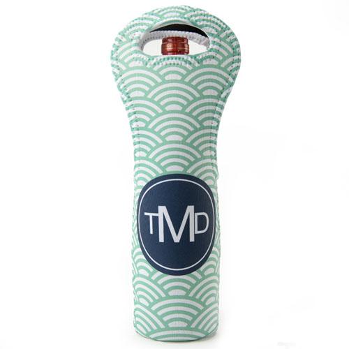 Peacock Navy Scallop Personalized Neoprene Wine Tote Bag