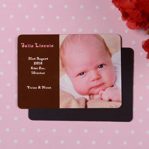 Personalized First Girl Coco Birth Announcement Photo Magnet