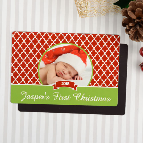 Personalized First Christmas Photo Magnet 4x6 Large