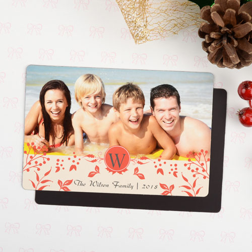 Initial Personalized Christmas Photo Magnet 4x6 Large