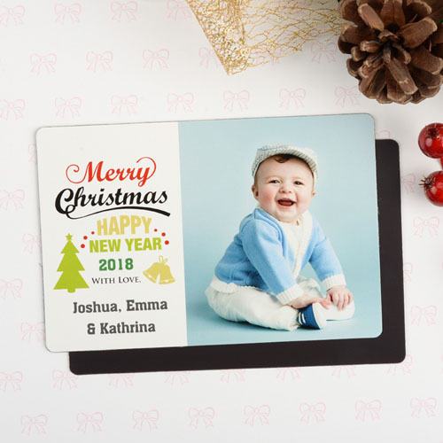 Personalized Christmas Photo Magnet 4x6 Large